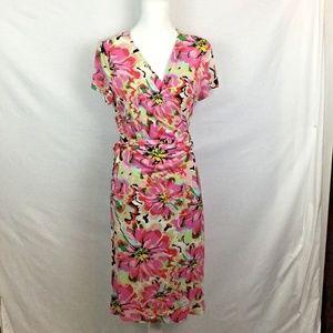 Wrap Dress L short sl Pink/ Mult Floral print